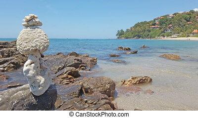 kamienie, waga, morze, tło
