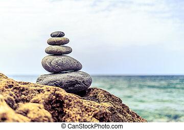 kamienie, waga, natchnienie, wellness, pojęcie