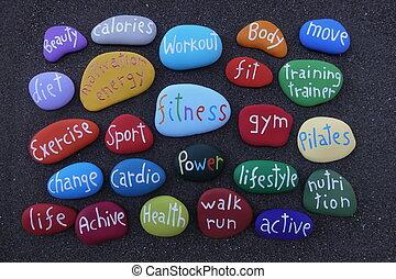 kamienie, wulkaniczny, barwny, na, dieta, lepszy, piasek,...