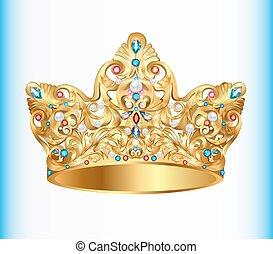 kamienie, złoty, ozdoba, korona, ilustracja, drogocenny, ...