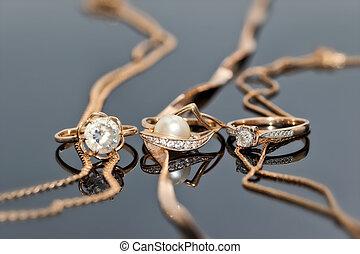 kamienie, złoty, perły, dzwoni, dzwonek, drogocenny