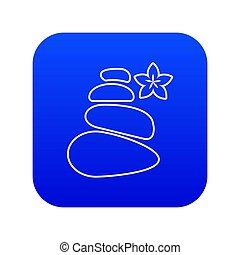 kamienie, zdrój, waga, błękitny, ikona