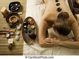 kamienie, zdrój, woman., gorący, masaż
