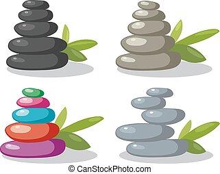 kamienie, zen, wektor, skała, waga, stóg