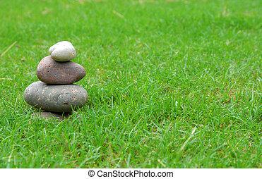 kamienie, zielona trawa, zen, waga