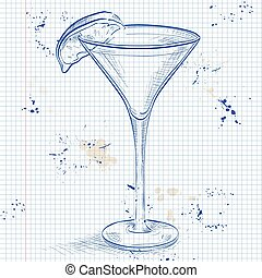 Kamikaze alcohol cocktail on a notebook page