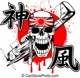 kamikaze and plane - Vector illustration skull of kamikaze...