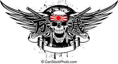 kamikaze, schedel, banzai