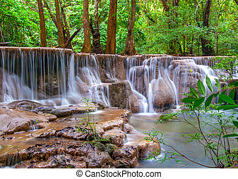 kamin, eső, jungle., vízesés, thailand), mély, (huay, mae,...
