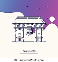kaminarimon, púrpura, cartel, viaje, creativo, plano de...