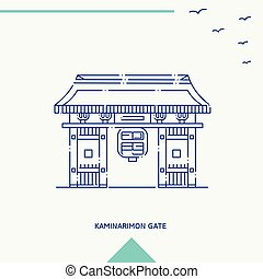kaminarimon, puerta, contorno, vector, ilustración