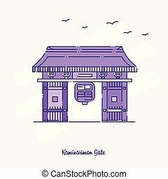 kaminarimon, punteado, púrpura, ilustración, contorno,...
