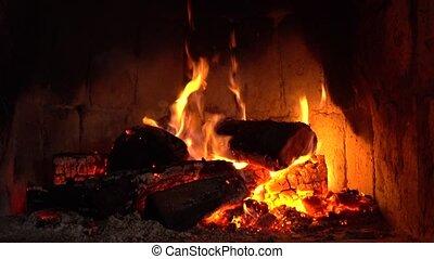 kaminofen, behalten, warm., daheim, holz, cozy, brennender