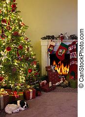 kaminofen, und, weihnachtsbaum