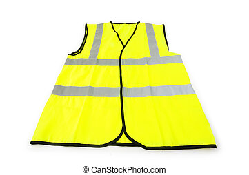 kamizelka, białe tło, odizolowany, żółty