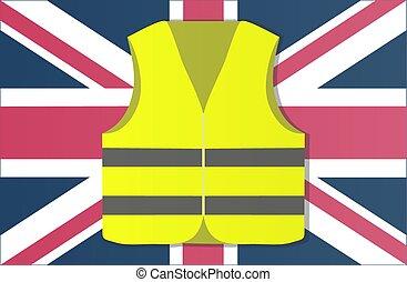 kamizelki, ilustracja, protest, wektor, żółty, kapitał, anglia, london.