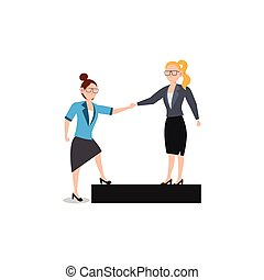 kammerat, firma, help., white., isoleret, karakter, give, kvinde, lejlighed, illustration, cartoon, konstruktion, hjælpe ræk, begreb, hver, andet.