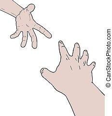 kammerat, hjælp, hænder