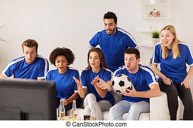 kammerater, eller, fodbold, vifte, iagttag, soccer, hjem hos