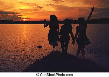 kammerater, hos, solnedgang