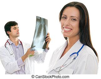 kammeratlig, caring, medicinsk sundhed, doktorer