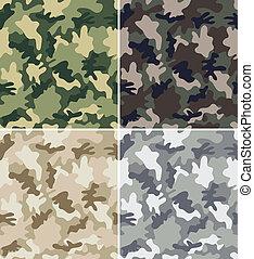 kamouflage, seamless, mönster
