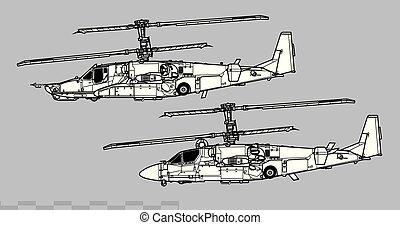 Kamov Ka-50 Ka-52 Hokum. Outline vector drawing - Aircraft...