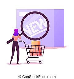 kampania, nowy, cycle., reklama, handlowy, samica, rysunek, ilustracja, klient, litera, wektor, promotion., boks, szkło powiększające, świadomość, patrzeć, produkt, znakowanie, życie, malutki, gatunek, handel, goods.