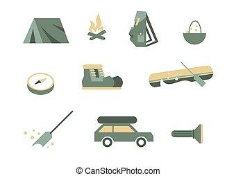 kampeeruitrusting, symbols.