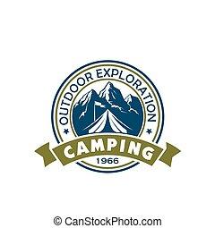 kampeervakantie, en, buitene ontspanning, badge