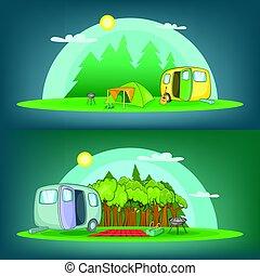 kamperen, 2, spandoek, set, horizontaal, spotprent, stijl