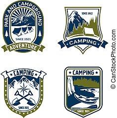 kamperen, badge, schild, van, berg, of, bos, kamp