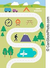 kamperen, buiten, infographics, vector, illustratie