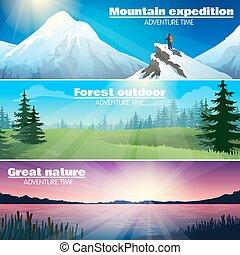 kamperen, buiten, natuur, horizontale banners, set