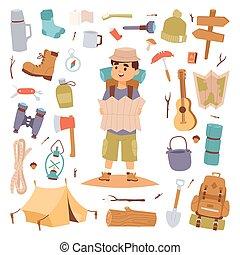 kamperen, buiten, reizen, toerist, man, vasthouden, kaart, en, vector, sticker