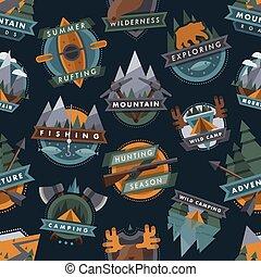 kamperen, buiten, toerist, reizen, logo, verkenner, kentekens, mal, emblems, vector, illustratie, seamless, model, achtergrond