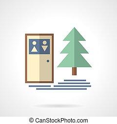 kamperen, buiten, wc, plat, vector, pictogram