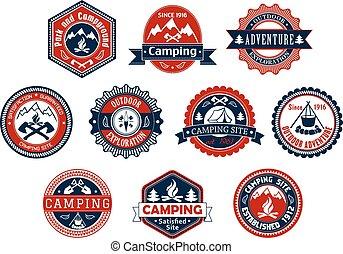 kamperen, buitene avontuur, badge, voor, reizen, ontwerp