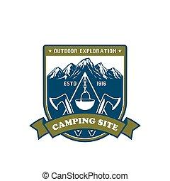kamperen, en, buitene avontuur, badge, ontwerp