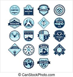 kamperen, en, buitene avontuur, ouderwetse , emblems, vector, set