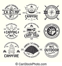 kamperen, en, buitene avontuur, vector, black , emblems