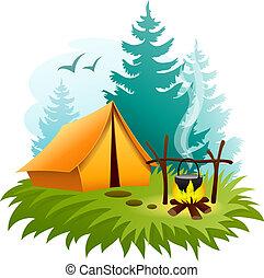 kamperen, in, bos, met, tentje, en, kampvuur