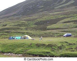 kamperen, in het platteland