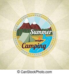 kamperen, landscape, met, tentje, en, vreugdevuur, retro, vector