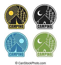 kamperen, logo, dag, en, night., landscape, met, tentje, en, forest., embleem, accommodatie, in, camp., zon, en, moon., vuur, op, kraam