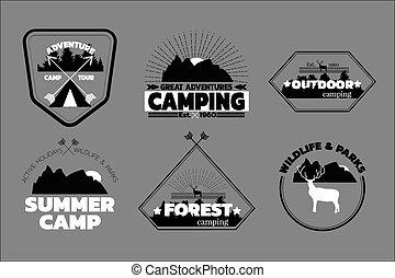 kamperen, logos, set, buiten, emblems, etiketten