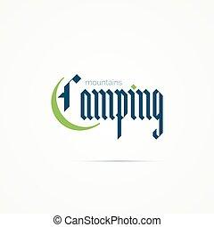 kamperen, moderne, schrijvende , gotisch, font., logo