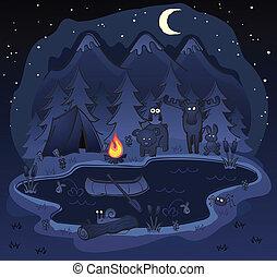 kamperen, op de avond, met, dieren