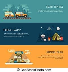kamperen, openluchtactiviteit, concept, achtergronden