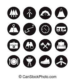 kamperen, pictogram, set, kamperen, buiten, reizen